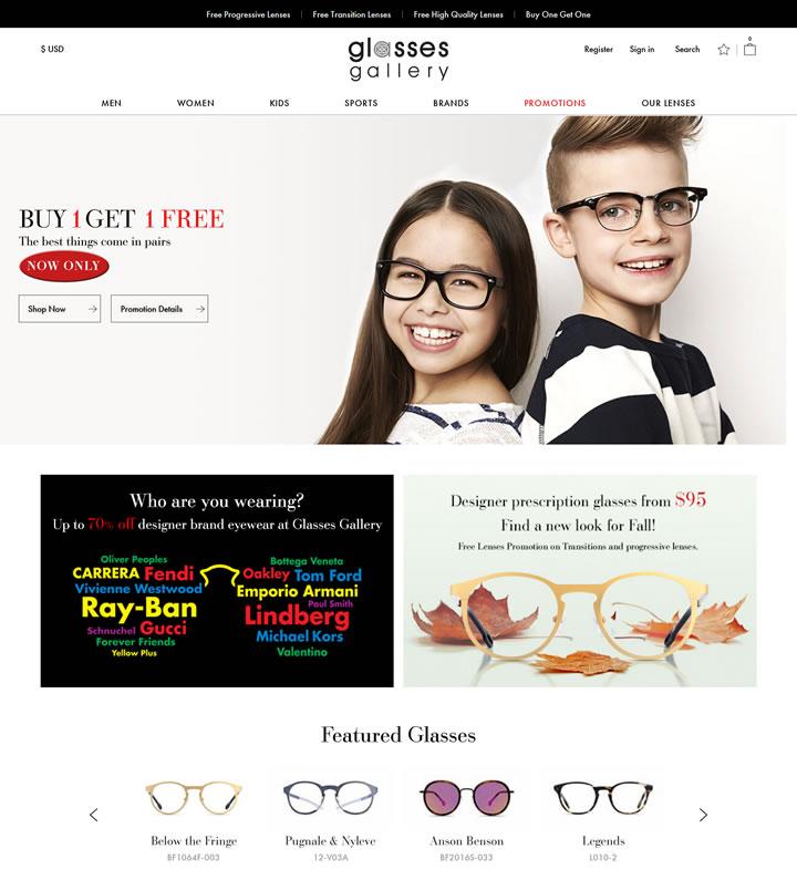 美国独家设计师眼镜在线光学商店:Glasses Gallery