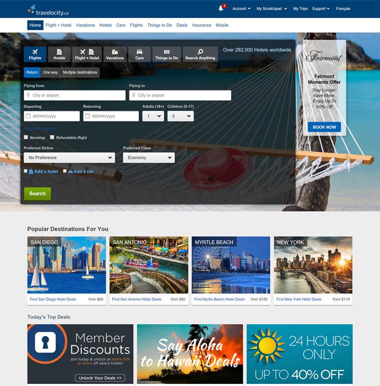 北美三大旅游网站之一:Travelocity加拿大