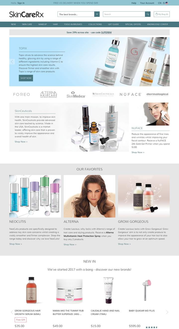 美国专业级皮肤病和spa品质护肤品的高级零售网站:SkinCareRx