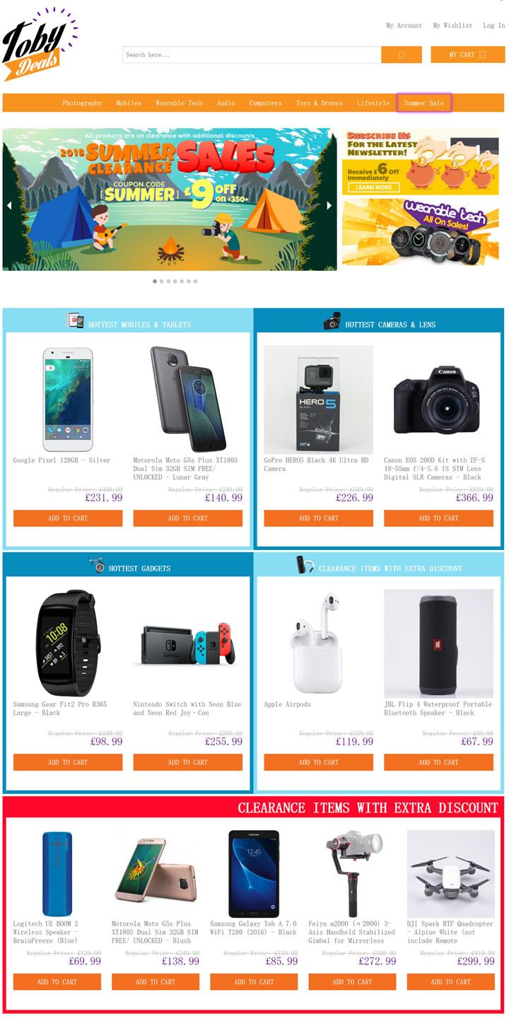 英国电子产品购物网站:TobyDeals