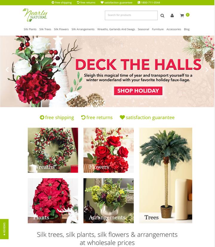 丝绸和人造花卉、植物和树木:Nearly Natural