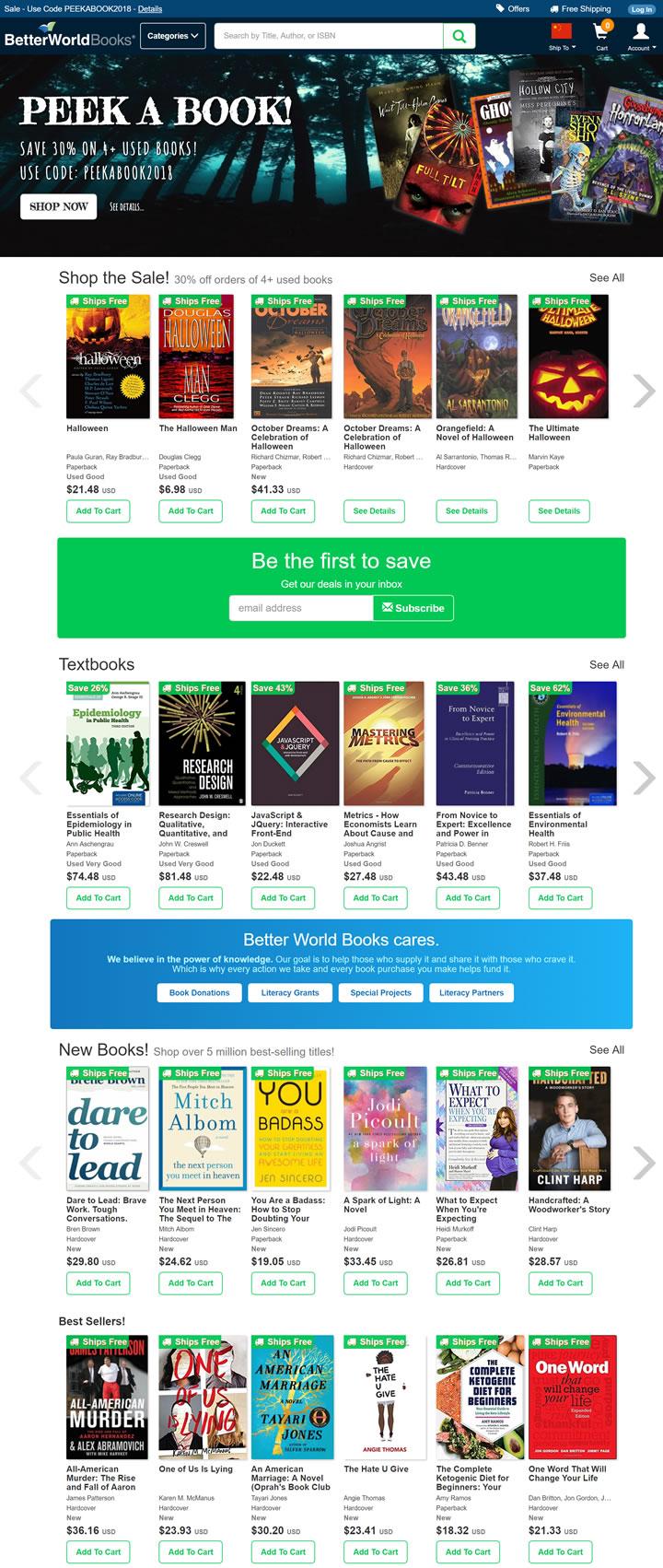 美国购买新书和二手书网站:Better World Books
