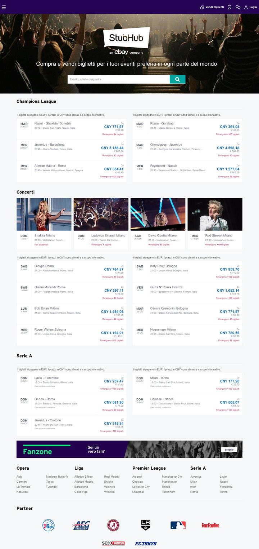 StubHub意大利:购买和出售全球演唱会和体育赛事门票