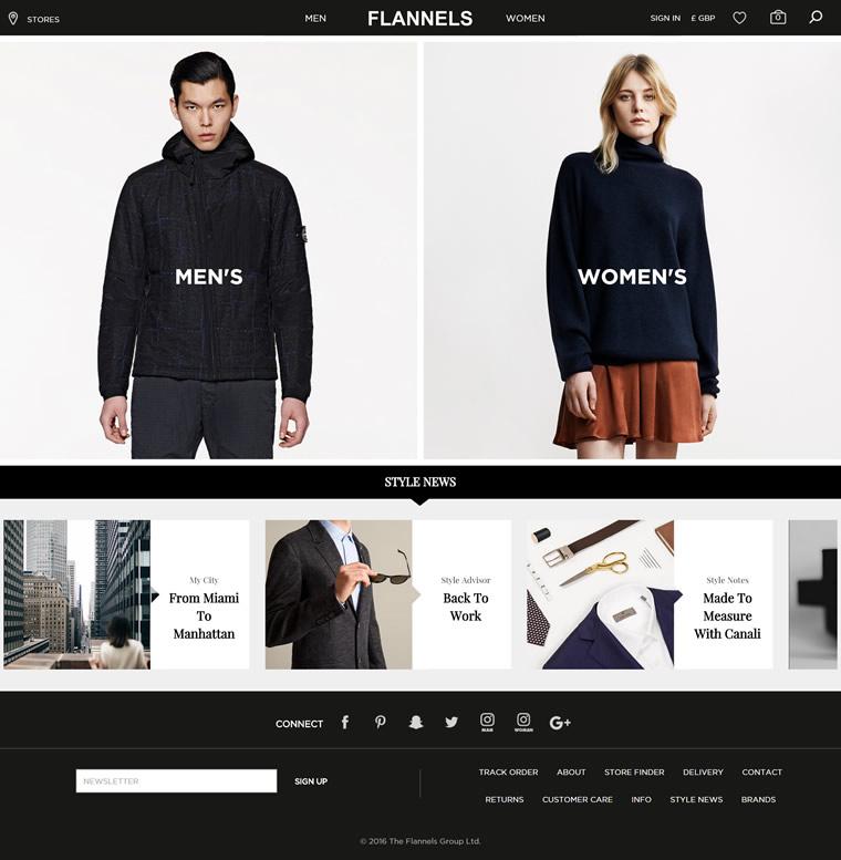 英国最大的奢侈品零售网络商城:Flannels