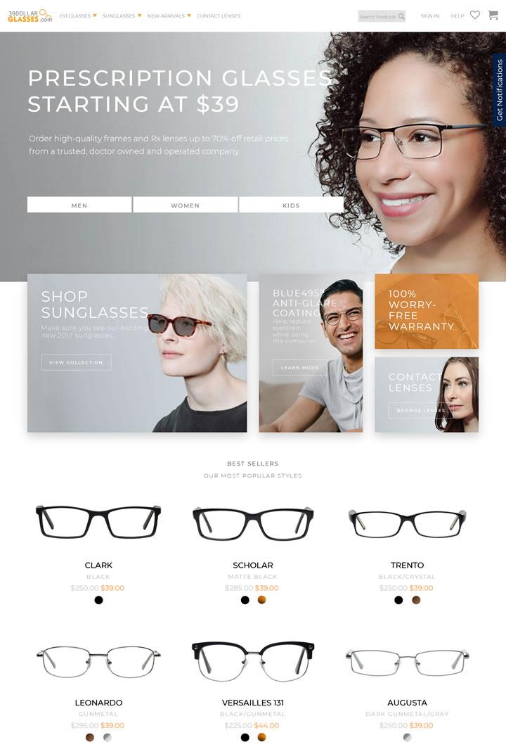 39美元购买一副眼镜或太阳镜:39DollarGlasses.com