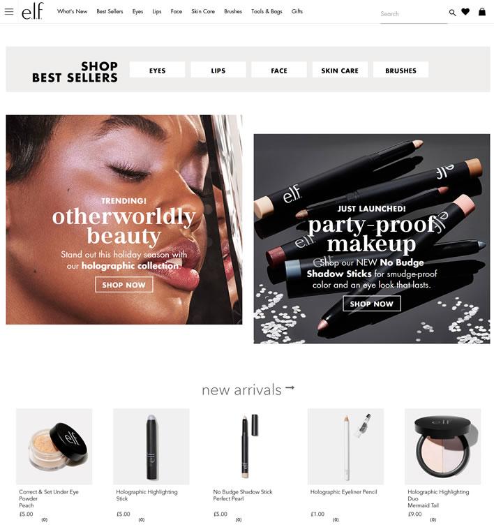elf彩妆英国官网:e.l.f. Cosmetics英国(美国平价彩妆品牌)