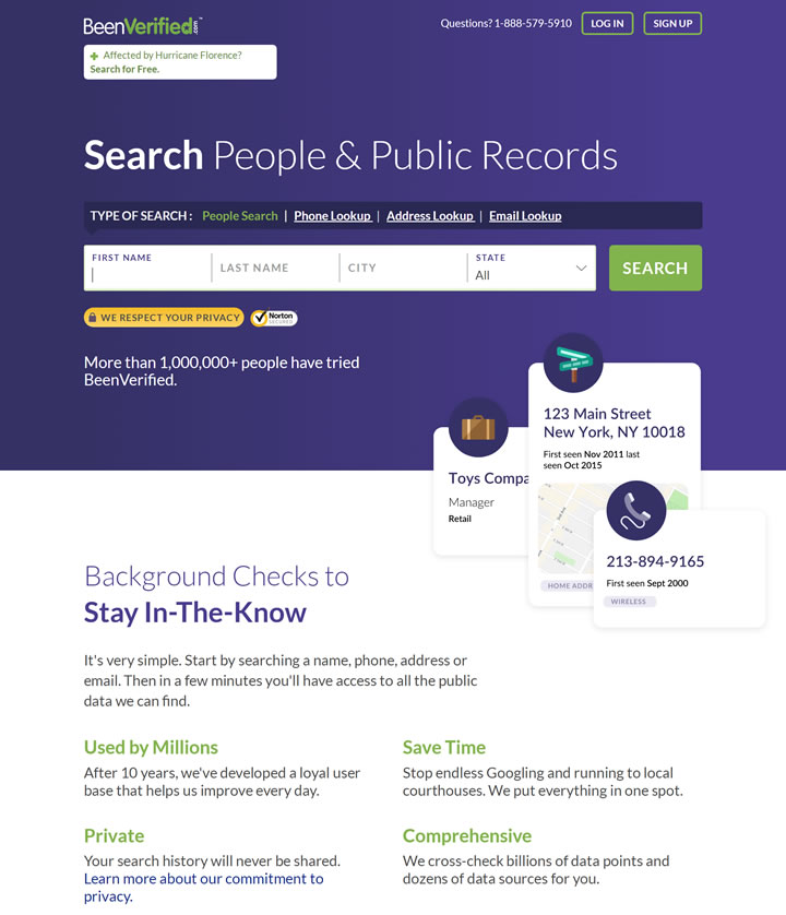 美国背景检查、公共记录和人物搜索网站:BeenVerified