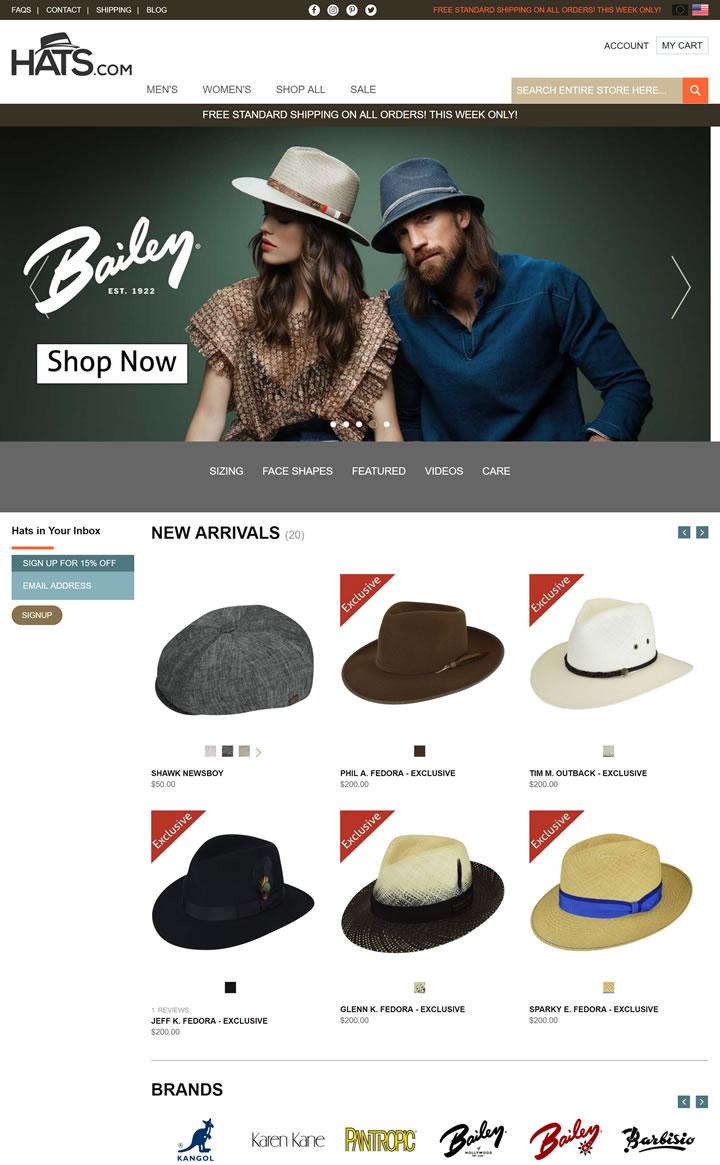 美国高档帽子网上商店:Hats.com