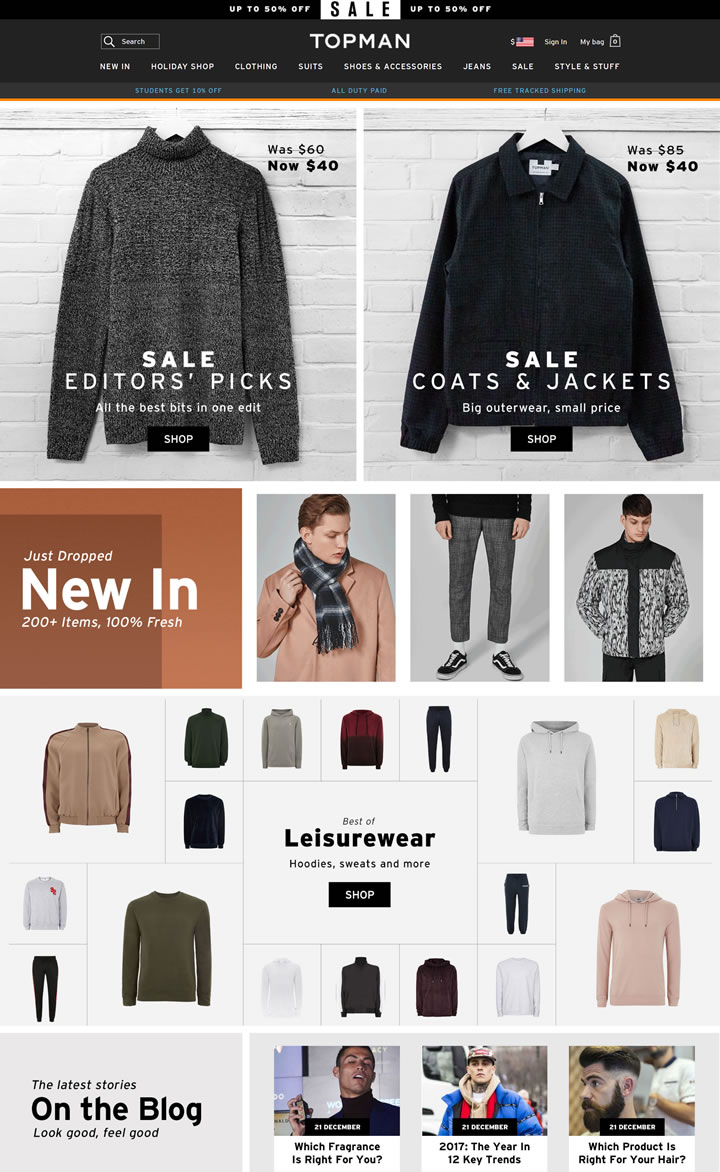 Topman美国官网:英国著名的国际平价时尚男装品牌