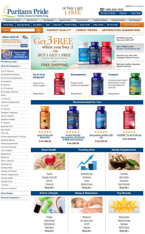 Puritan's Pride(普丽普莱)官方网站:美国最大最全的保健品公司之一
