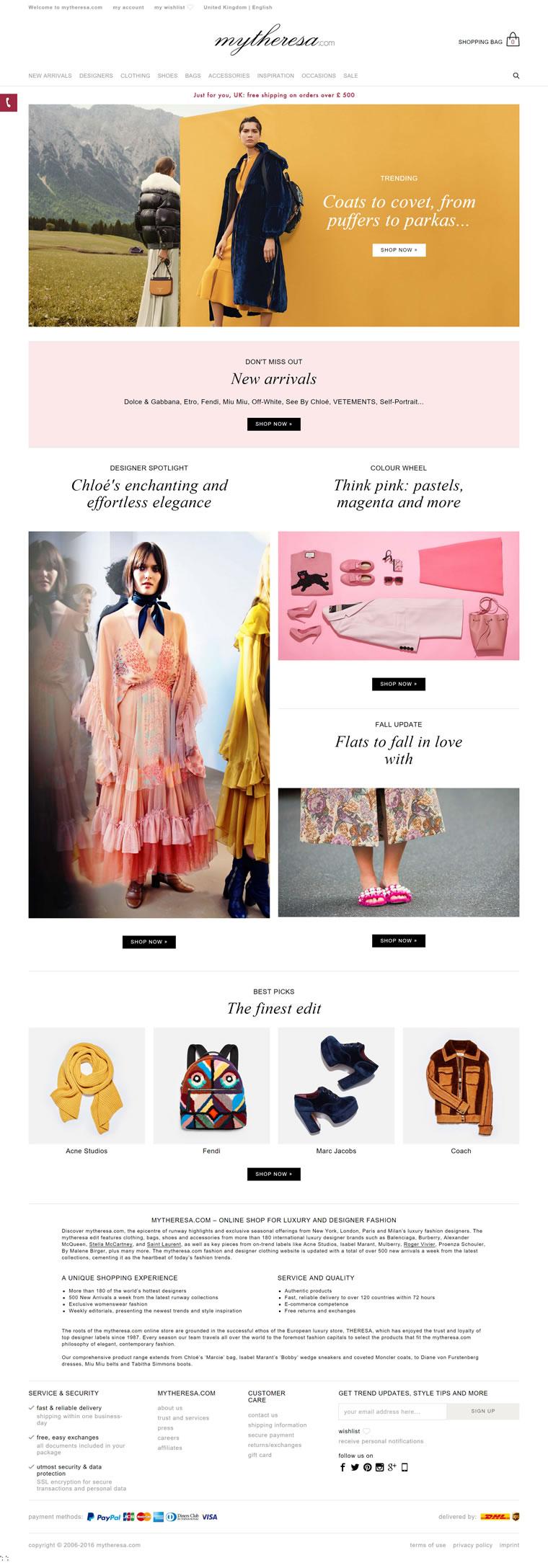 Mytheresa英国官网:拥有160多个奢侈品品牌