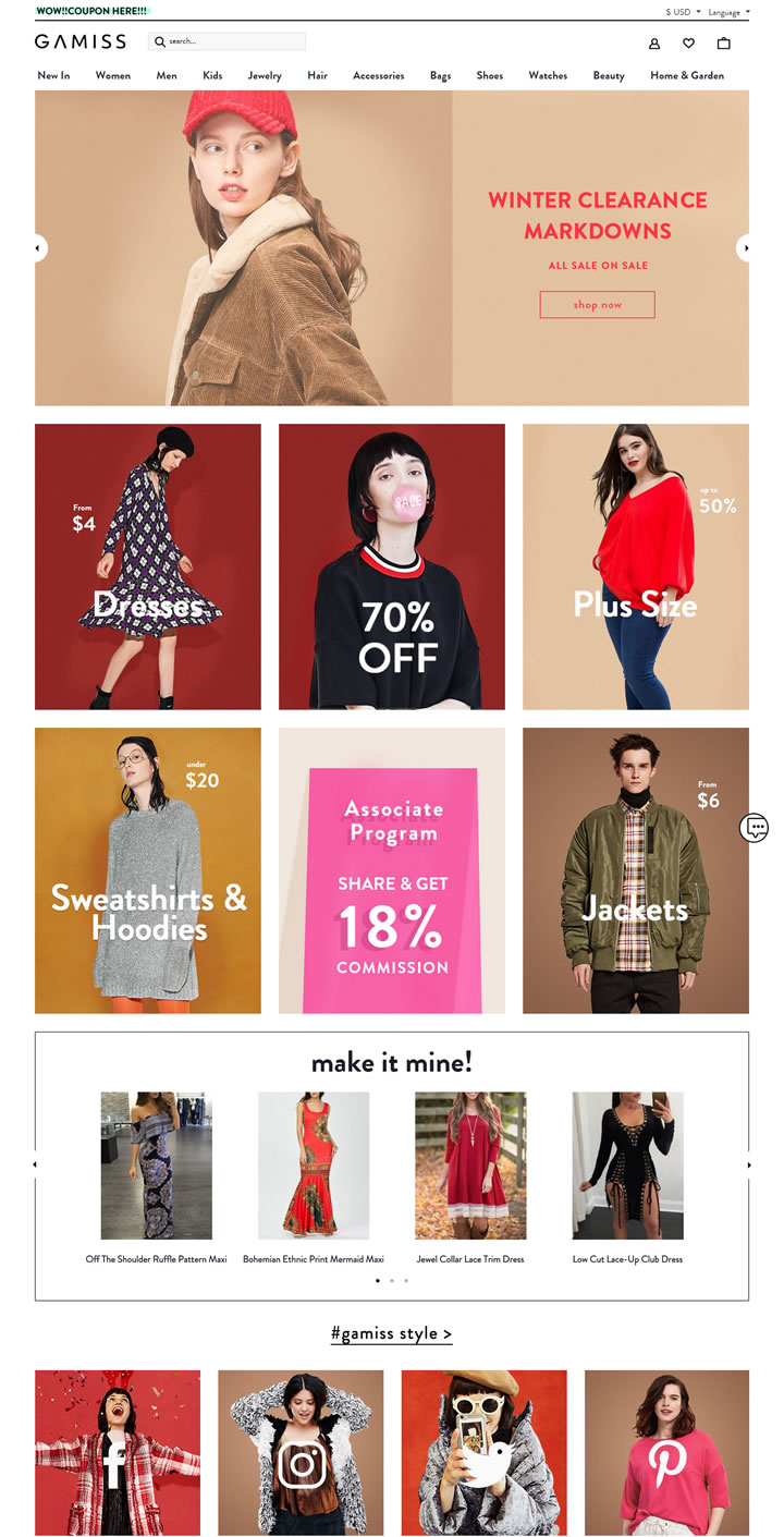 美国廉价女装、男装和儿童服装批发:Gamiss