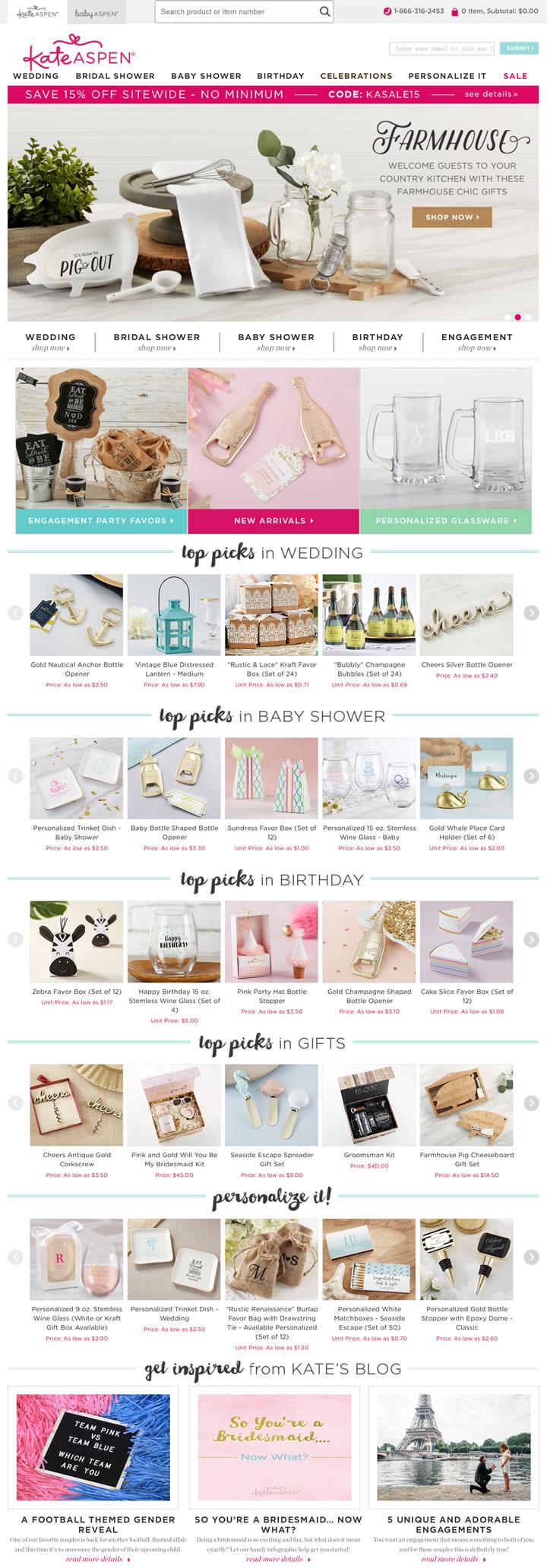 美国婚礼和派对礼品网站:Kate Aspen(新娘送礼会、迎婴派对)