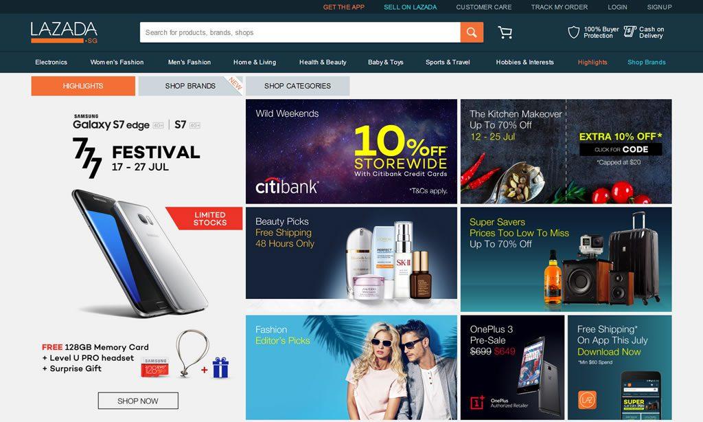 东南亚地区最大的购物网站Lazada新加坡站点:Lazada.sg