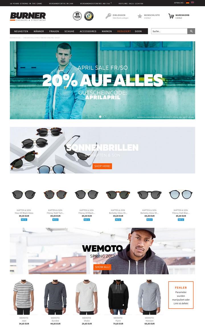 德国运动鞋和街头嘻哈网上商店:burner.de
