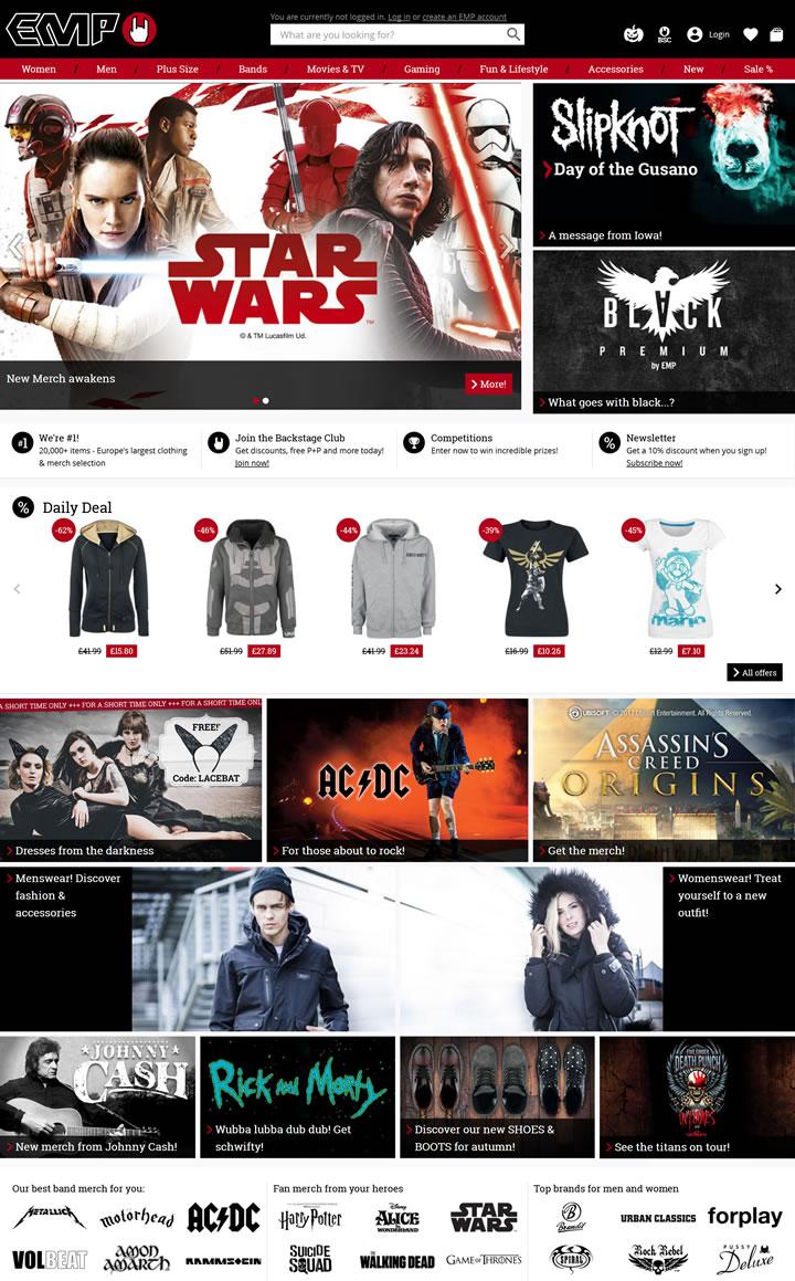 欧洲第一的摇滚和金属乐队服装网站:EMP