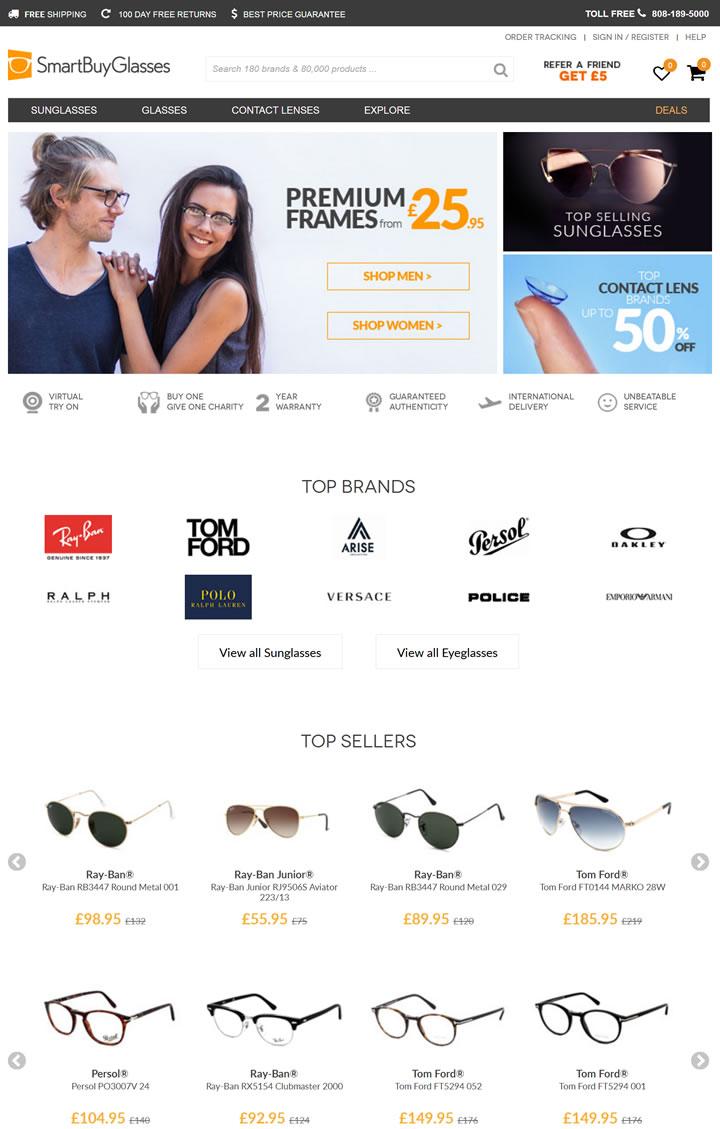 SmartBuyGlasses英国:购买太阳镜和眼镜