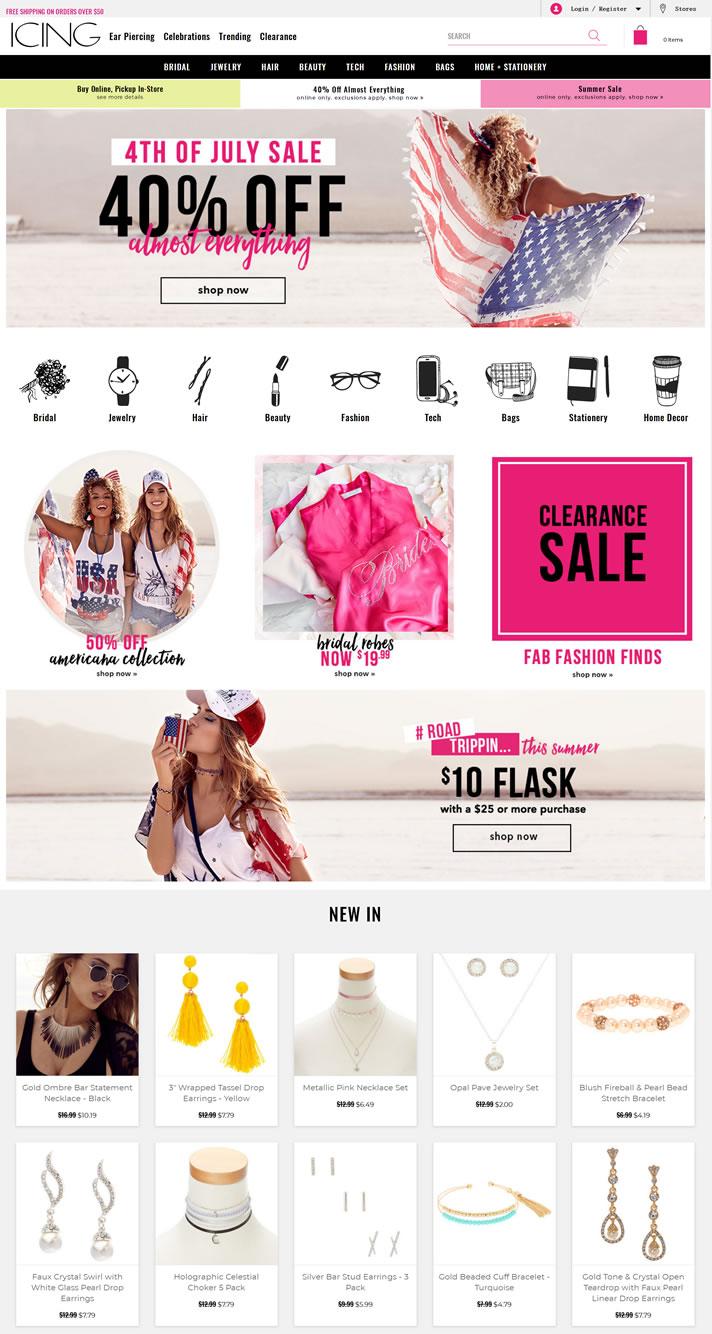 美国女士时尚珠宝及配饰购物网站:Icing