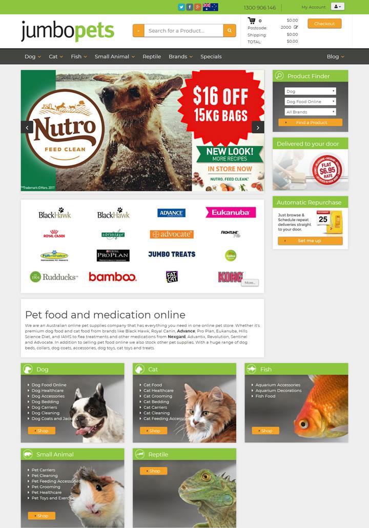 澳大利亚宠物食品和药物在线:Jumbo Pets