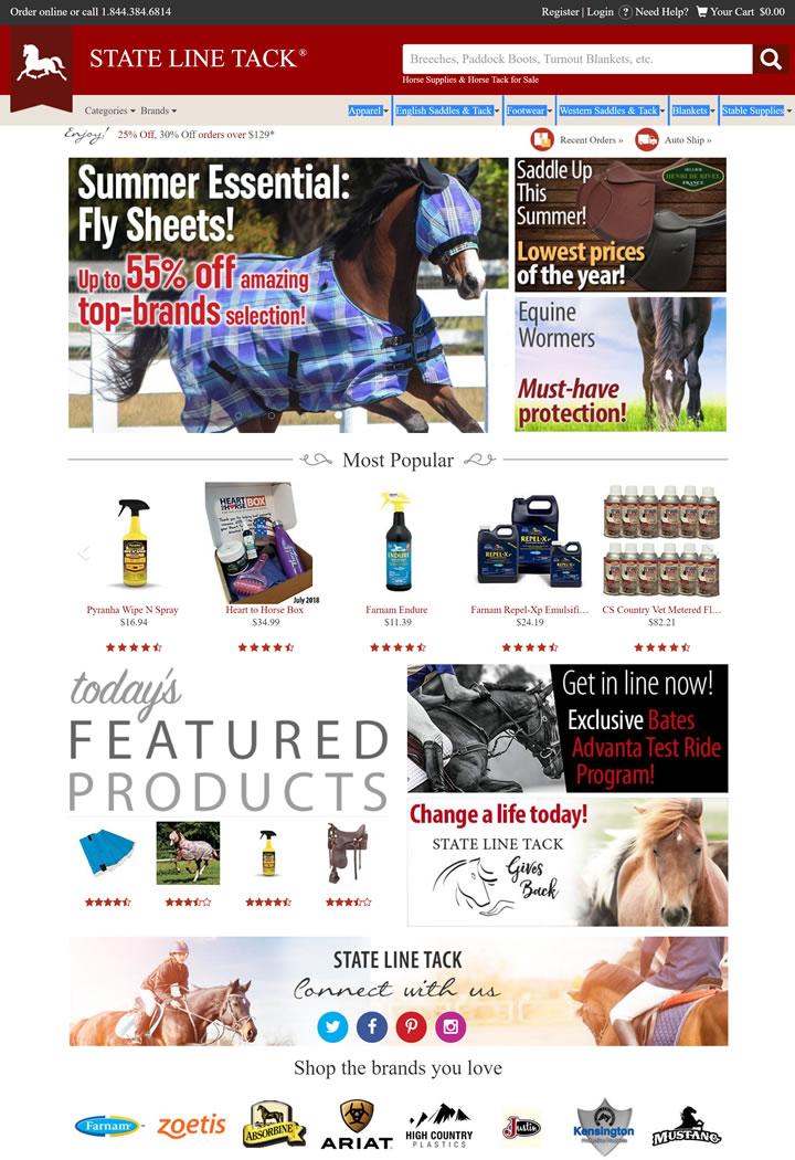 美国马匹用品和马钉购物网站:State Line Tack