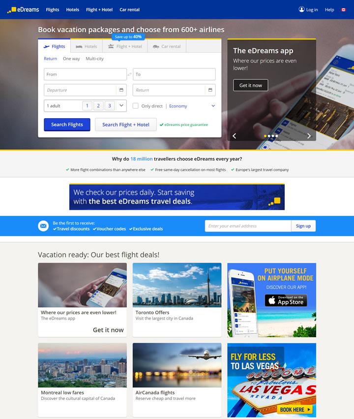 eDreams加拿大:廉价航班、酒店和度假