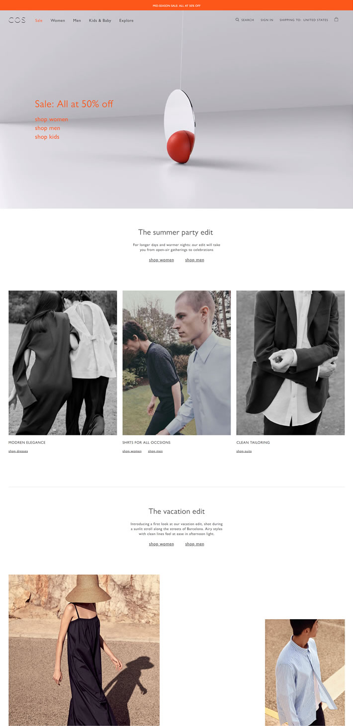COS美国官网:知名服装品牌