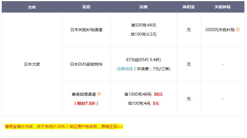 海带宝日本转运运费价格 日本转运运费明细