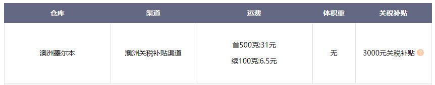 海带宝澳洲转运价格运费 香港自提仓库地址
