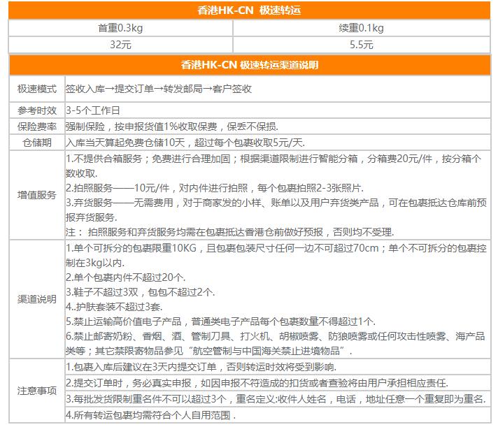 鹏华转运香港仓运费价格说明,香港到中国